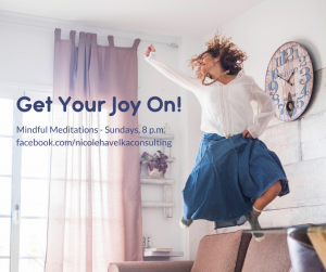 "Woman jumping for joy in living room with the text ""Get Your Joy On: Mindful Advent Meditations Sundays at 8 p.m. ET in the foreground."