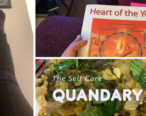 Images of self care practices including a yoga pose of legs up the wall, someone sitting and reading a book, and a healthy meal.