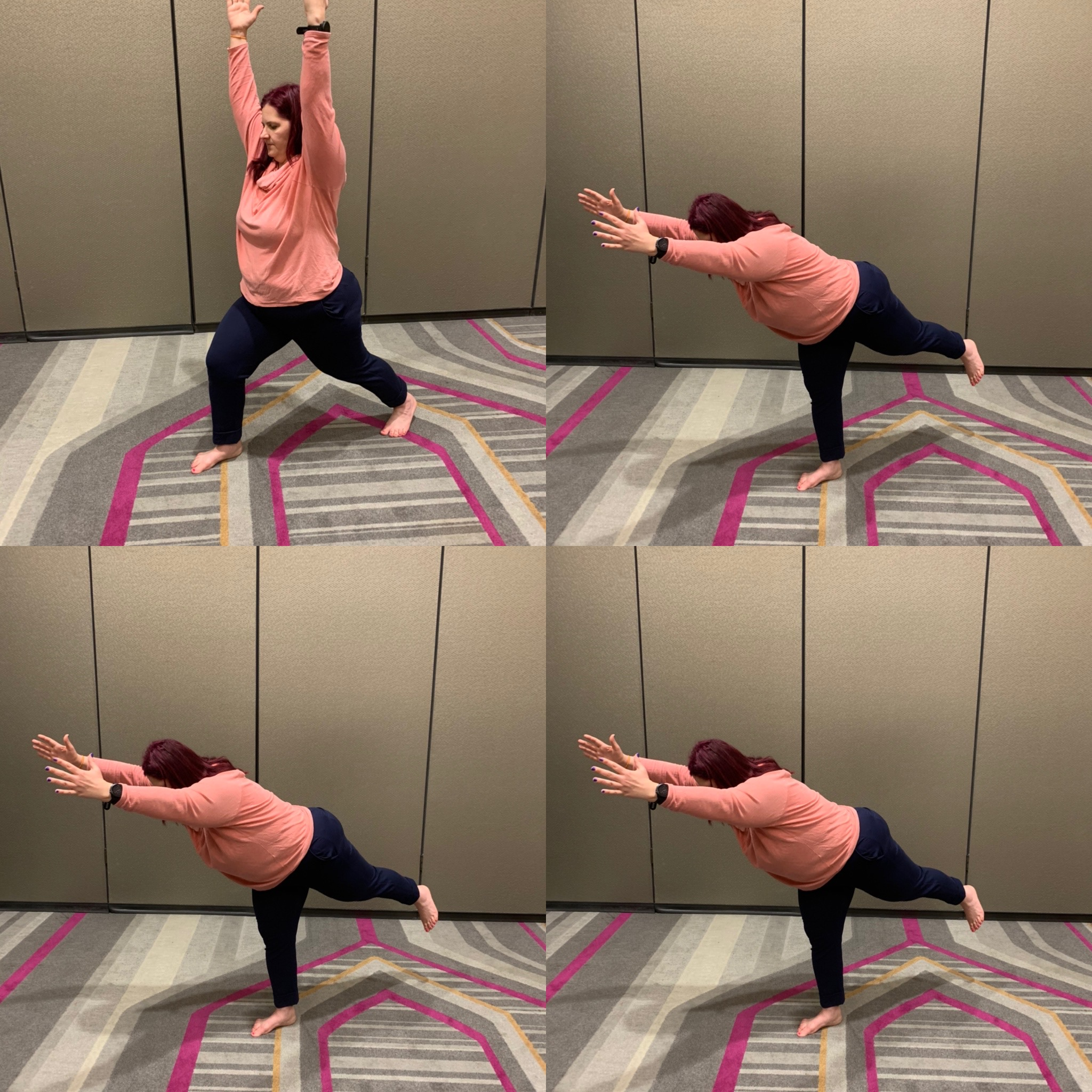 Nicole moving from yoga poses high crescent lunge to Warrior 3
