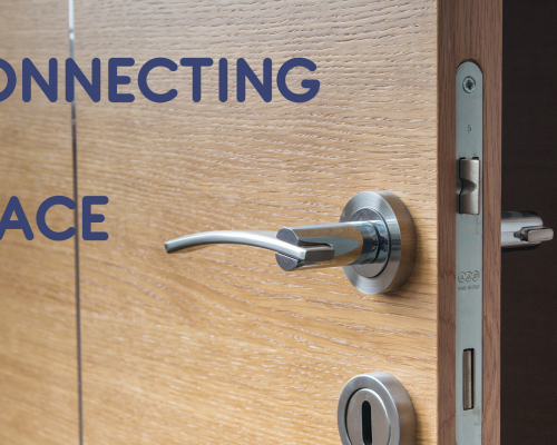 "Image of a door slightly ajar with the words, ""Connecting in Place"""