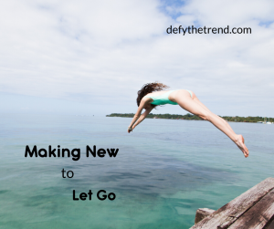 Image of woman diving into the ocean with Making New to Let Go written
