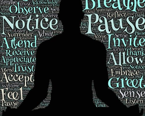 Graphic of a person in a seated meditative position with the words: Listen, Breathe, Notice, Pause, Invite, Greet, Accept, Feel surrounding the figure.