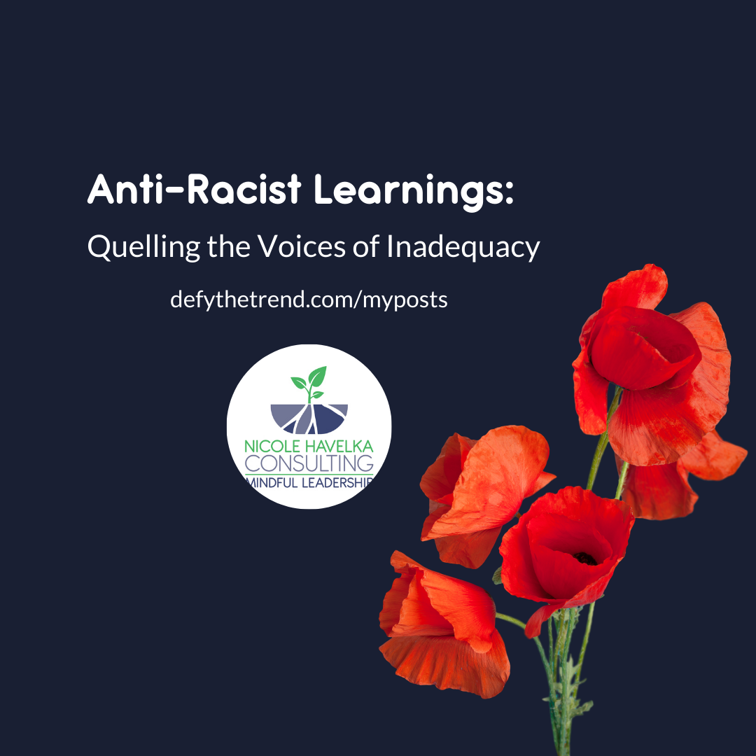 "Dark purple background on a square graphic with orange-red poppies in the right corner and the words above: Anti-Racist Learnings: Quelling the Voices of Inadequacy"" The Nicole Havelka consulting logo is in a circle below"