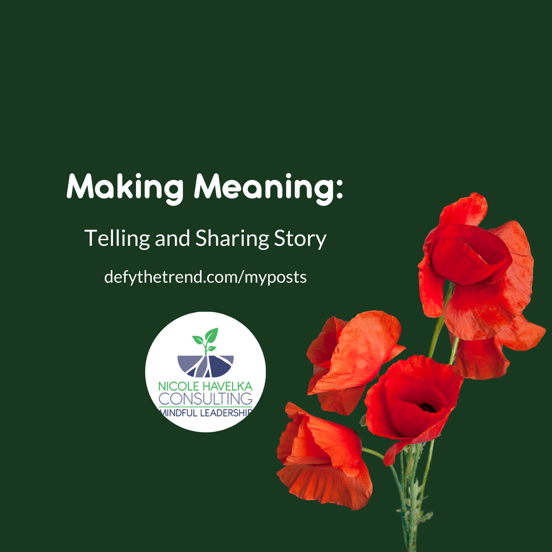 """Graphic with Dark Green Background with bright red poppies in right corner and the words to the left: """"Making Meaning: Telling and Sharing Story; defythetrend.com/myposts"""" The Nicole Havelka consulting logo is under the words in a small circle"""