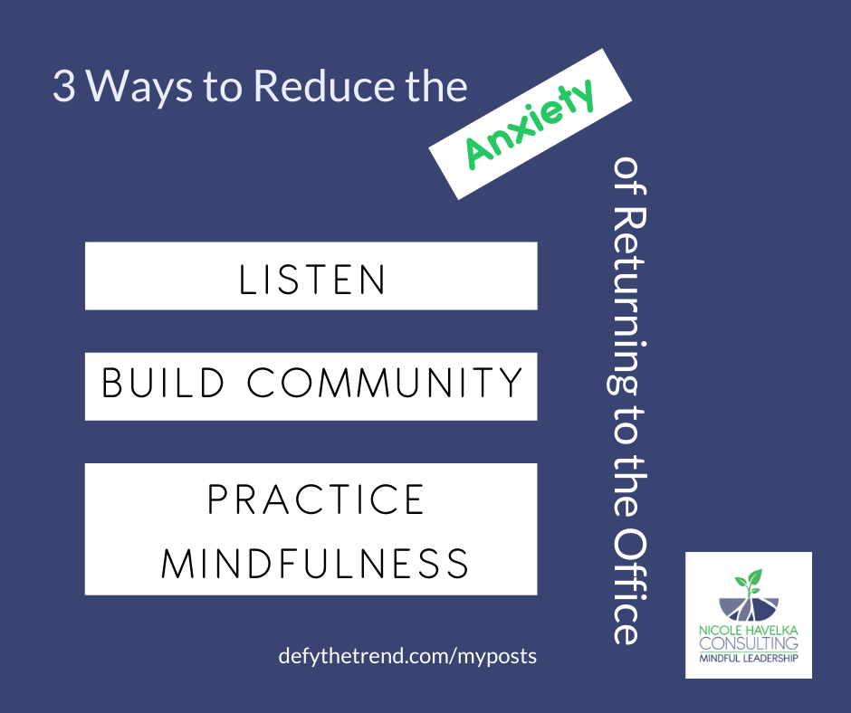 """Dark Purple background with the words """"3 Ways to Reduce the Anxiety of returning to the office"""" that run along the upper and the left edge. the words, """"Listen,"""" """"Build Community,"""" and """"Practice Mindfulness"""" in separate white blocks on the right side. The words, """"defythetrend.com/myposts"""" at the bottom"""