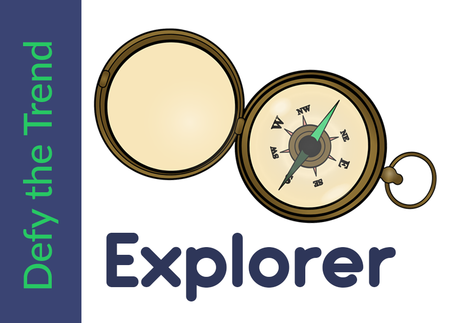 Graphic with the words Defy the Trend in purple text to the left side, am image of a compass with the word explorer underneath it to the right.