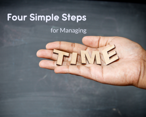"""A picture of a caucasian hand with wooden blocks spelling the word time in their open palm. Above it, the headline reads, """"Four Simple Steps for Managing Time."""""""